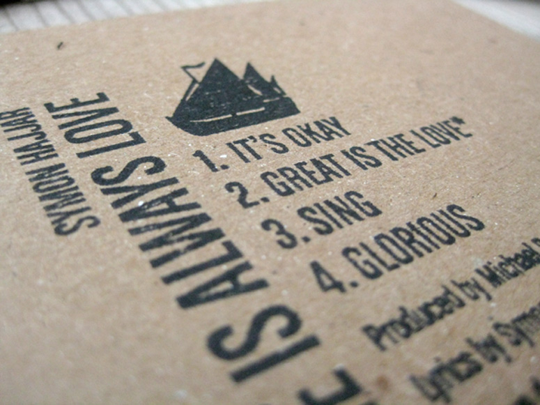 Rubber Stamped CD Packaging design