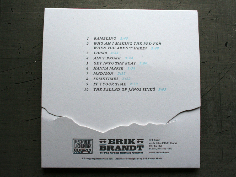 Die Cut CD Packaging back