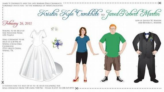 paperdoll wedding invitation