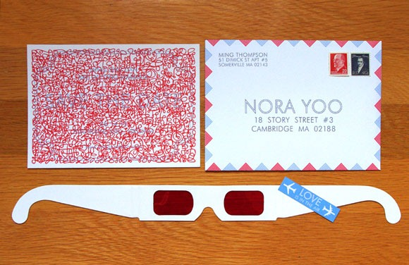 3D glasses wedding invitation