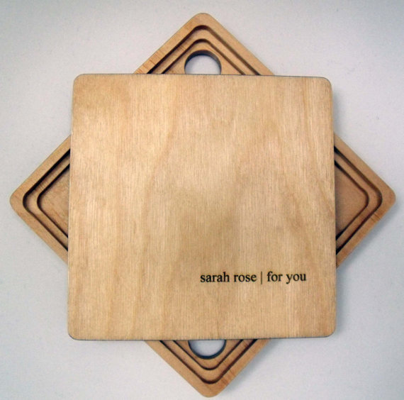 cd packaging etched wooden