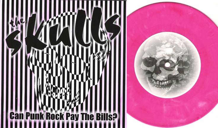 vinyl record skulls pink black white