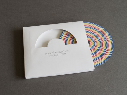 CD case cutout rainbow