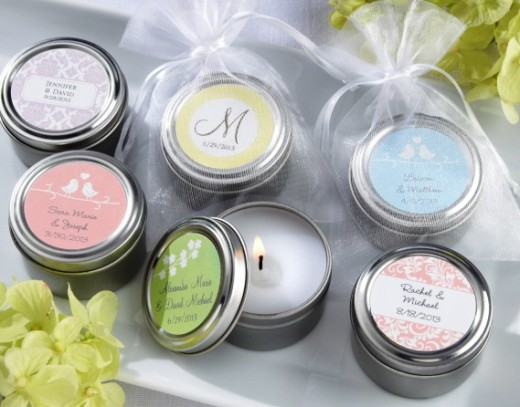 Practical wedding giveaways-candles in tin cans
