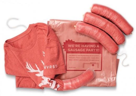 t-shirt packaging sausage design