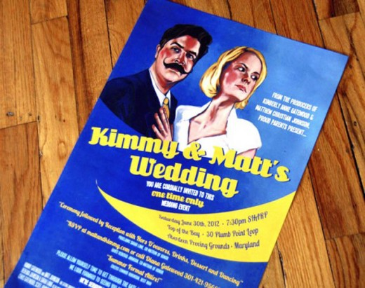 movie poster wedding invitation