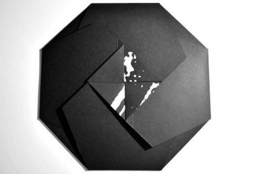 black and white spiral vinyl packaging