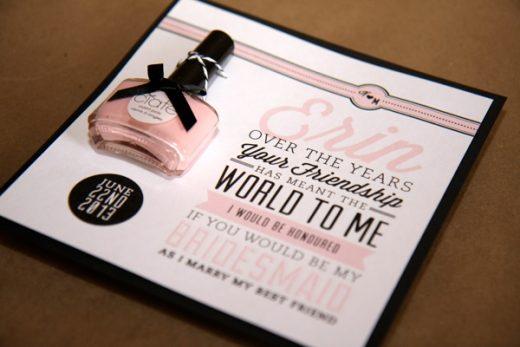 wedding invitation bridesmaid nailpolish