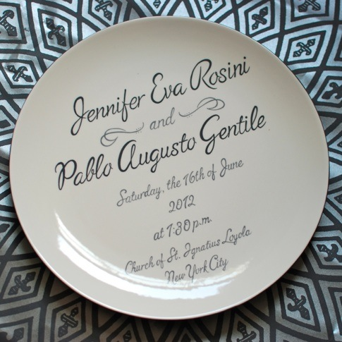 plate wedding invitation