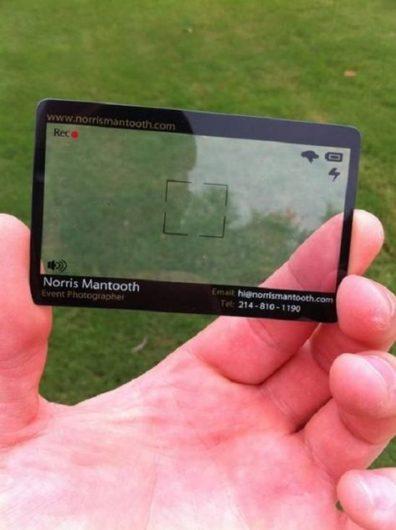 camera screen business card