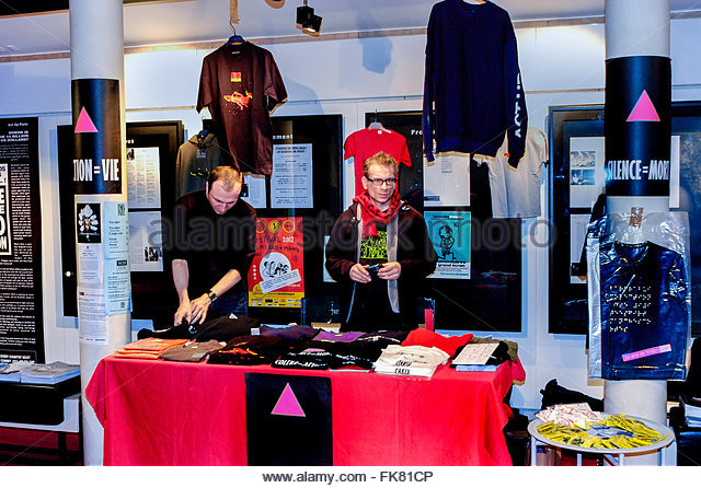 paris france aids activists of act up paris selling merchandise on fk81cp 1